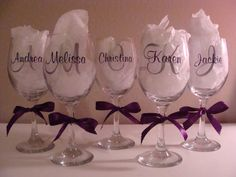 set of 6 monogramed personalized bridesmaid wine glasses on Etsy, $54.00