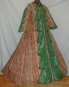 1860s wool paisley trimmed with green silk.