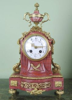 SMALL PINK MARBLE FRENCH MANTLE CLOCK - Very pretty item