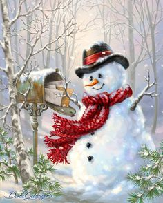 By Dona Gelsinger – Winterbilder Christmas Scenes, Vintage Christmas Cards, Christmas Pictures, Xmas Cards, Christmas Snowman, Winter Christmas, Christmas Time, Christmas Wreaths, Christmas Crafts