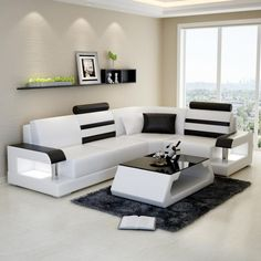 L- Shaped Sectional Leather Sofa Howard Set Corner Sofa Design, Sofa Bed Design, Corner Sofa Set, Living Room Sofa Design, Living Room Furniture, Living Room Designs, Furniture Design, Modern Furniture, Centre Table Living Room