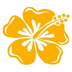 Grand sticker Hibiscus jaune moutarde
