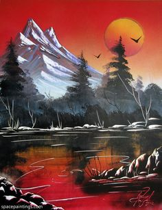 Awesome beginner painting idea, Mountain sunset red river.
