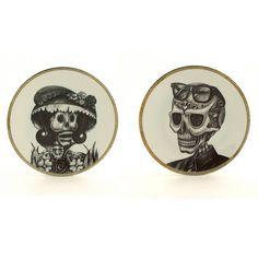 Sugar Skull Plate Set for 2 Vintage Porcelain 70's 2