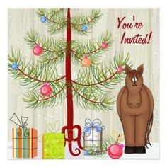 Cute Horse Christmas Tree Birthday Party Invitations.  Two horses available brown and a paint.