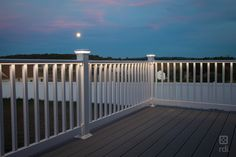 With our plug-and-play LED rail lighting system, there's no need for cutting & splicing. Splitters & harnesses connect with LED accessories easily. Vinyl Deck Railing, Exterior Stair Railing, Outdoor Stair Railing, Deck Railings, White Deck, Patio Deck Designs, Stair Lighting, Cool Deck, Railing Design