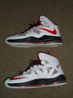 540a3197c8b LEBRON JAMES X 10 HOME WHITE UNIVERSITY RED BLACK WHITE SHOES 541100-100 SZ  13.5