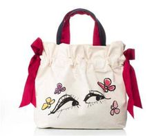 And for Little Girls . . .  1, 2, 3. . . have a hot chocolate. . Lanvin Petite proposes little presents for little girls: a small canvas and gros grain tote bag.