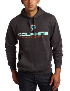 NFL Men's Miami Dolphins 1st and Goal IV Long Sleeve Hooded Fleece Pullover (Charcoal Heather, X-Large) by Majestic. $49.95