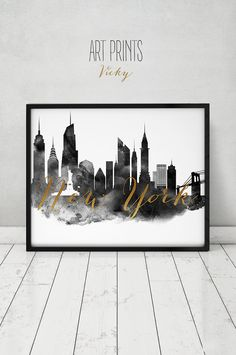 New York watercolor print black & white by ArtPrintsVicky on Etsy