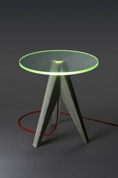 Holy Tristan Lighted Glass and Concrete Tables