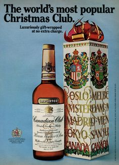 1974 CANADIAN CLUB Whiskey Holiday Christmas Gift Retro Vintage Original Ad