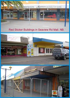Red Sticker Buildings in Seaview Road Mall, New Brighton after the Feb 22, 2011 earthquakes, Christchurch, New Zealand