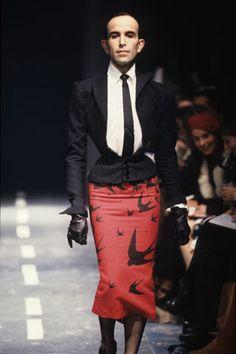 """Mr Pearl for Alexander McQueen 1994 """"The Birds"""" Alexander Mcqueen, Dolly Fashion, High Fashion, Men's Fashion, Mr Pearl, Guys In Skirts, Men Wearing Skirts, Men In Heels, Drag King"""