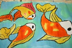 Oil Pastel and watercolor Koi fish from Creative U Houma!