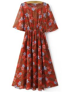 SHARE & Get it FREE | Floral Print Round Neck Front Slit Dress - RedFor Fashion Lovers only:80,000+ Items • New Arrivals Daily Join Zaful: Get YOUR $50 NOW!