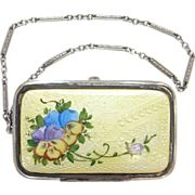Vintage Art Deco Flapper Purse Compact on Chain Yellow Guilloche Enamel Vanity