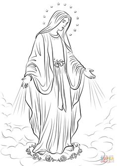 Our Lady Of Fatima Coloring Page Fresh Our Lady Of Grace Coloring Page Jesus Coloring Pages, Free Printable Coloring Pages, Coloring Book Pages, Coloring Sheets, Jesus Christ Drawing, Jesus Drawings, Jesus Art, Catholic Art, Religious Art
