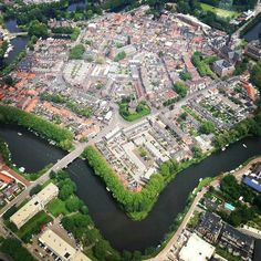 Woerden , the Netherlands -the centre of the town from the air
