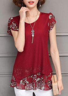Printed Round Neck Short Sleeve Layered Blouse | liligal.com - USD $30.64