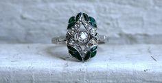 Stunning Vintage Art Deco Platinum Diamond and Green Enamel Engagement Ring