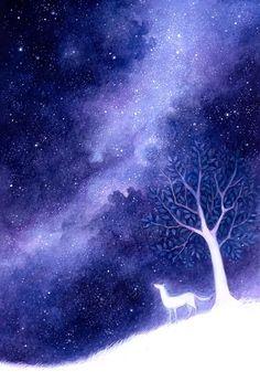 水彩 手绘 治愈 星空