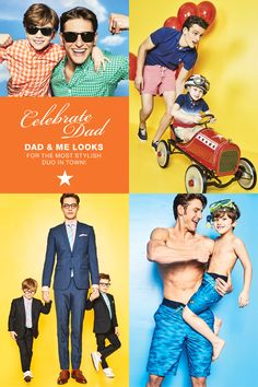 This Father's Day, up his wardrobe with dad and me looks for the most stylish duo in town. Visit macys.com for colorful button downs, spiffy suit sets, matching swim trunks and so much more!