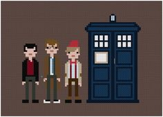Tardia and Doctors Nine, Ten, and Eleven cross-stitch - want to make this, too!