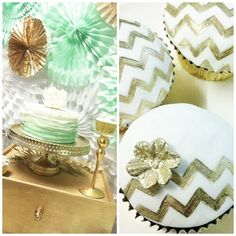 TOP DESSERT TABLE OF THE WEEK Mint And Gold Dessert Table Mint Green Ruffle Cake