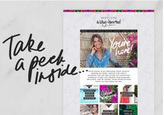 The look of this page (this actual page shown, not her whole site) is the closest to how I envision the membership site and sales page style - happy, bright bold colors, but with gold as the accent instead of black