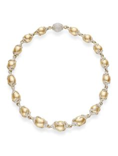 MIKIMOTO Baroque Golden South Sea Cultured Pearl Pavé Diamond Vine Necklace.  16x13mm Golden Baroque South Sea cultured pearls with 33.72ct white pavé diamonds, set in 18k yellow gold.  (=)