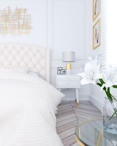 Glamour and luxury classic bedroom using white and gold color scheme. Best Picture For art deco interior kitchen For Your Taste You are l Grey And Gold Bedroom, Gold Bedroom Decor, Art Deco Bedroom, Guest Bedroom Decor, White Bedroom, Bedroom Ideas, Master Bedroom, Bedroom Color Schemes, White Home Decor