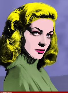 Lauren Bacall by Andy Warhol Lauren Bacall, Andy Warhol Pop Art, Jasper Johns, Roy Lichtenstein, Dali, Richard Hamilton, Pop Art Images, Bing Images, Hulk Art