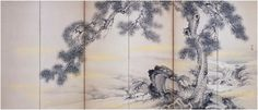 The second of a pair of six-panel screens representing the Three Friends of Winter by Yamamoto Baiitsu (1783-1856); this one pictures pines and bamboos