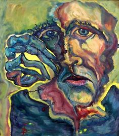 $22.41 · Painting, Oil  by Daniela Isache (Romania). Prints available from $22.41 via #Artmajeur.  #Painting #Oil #Expressionism #People #Portrait #Man #Mask #Pain Expressionist Portraits, Abstract Expressionism Art, Mask Painting, Woman Painting, Beyond Paint, Oil On Canvas, Canvas Art, Composition Painting, Original Art