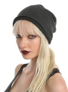Charcoal grey slouch style beanie with a rolled edge.