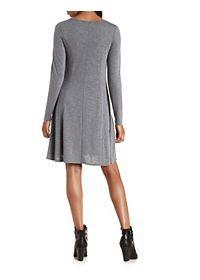 Long Sleeve Sweater Knit Henley Dress
