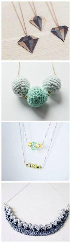 Die schönsten DIY-Ideen für selbstgemachte Ketten, Schmuck herstellen / free diy tutorials for beautiful necklaces via DaWanda.com