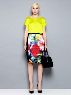 Pied a Terre Printed ponte roma colour print skirt Multi-Coloured - House of Fraser