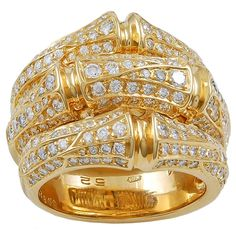 Rosamaria G Frangini | High Golden Jewellery | Cartier Diamond Gold Bamboo Ring | 1stdibs.com