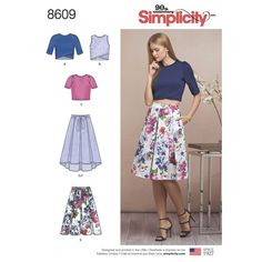 This two-piece look can be transformed from day to night with the perfect fabric. Misses' pattern includes knit tops in various styles with a perfectly pleated skirt. Simplicity sewing pattern.