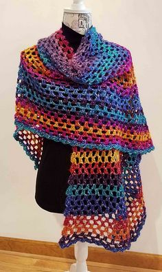 Colored Shawl Free Crochet Pattern | Free Crochet Patterns