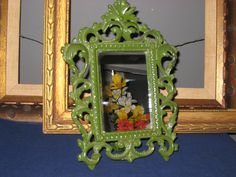 Ornate Cast Iron Mirror/Vintage Metal Mirror Frame/Easel Frame Swing Out Stand/Green Ornate Metal Mirror or Frame/Vintage Mirror with Glass by iLikeEclectic on Etsy