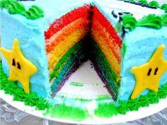 Mario cake (Duh! rainbow cake!)