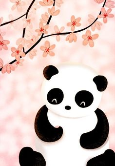sweet panda bear illustration with pink flowers Panda Kawaii, Cute Panda, Kawaii Cute, Art Beat, Nidhi Chanani, Panda Bebe, Panda Nursery, Panda Art, Panda Panda