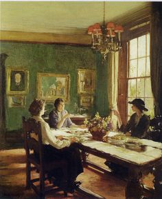 'Tea Time' by English painter Frederick William Elwell (1870 – 1958)