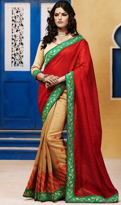 Update your wardrobe with season's fresh new and trendy hues like this red and beige color bhagalpuri silk half n half sari. The appealing lace, resham and stones work across saree is awe-inspiring. Upon request we can make round front/back neck and short 6 inches sleeves regular saree blouse also. #TrendyRedClassicalDesignOfSaree