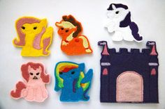 """""""My Little Pony, My Little Pony..."""" Now you can have the magic of my little pony at your finger tips! Make new friends and learn about friendship as you play with these adorable finger puppets.    Have fun in Ponyville with Applejack, Rarity, Fluttershy, Rainbow Dash, and Pinkie Pie.     Pony castle ALSO INCLUDED!    Puppets fit on both children's and adult's fingers.    Products are created in a Smoke FREE environment!    This item includes five finger puppets and one case ONLY…"""