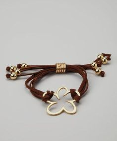 Take a look at this Farfan Jewelry Brown & Gold Flower Suede Bracelet by All in the Wrist: Women's Bracelets on today! Leather Jewelry, Wire Jewelry, Jewelry Crafts, Beaded Jewelry, Jewelery, Jewelry Bracelets, Suede Bracelet, Bracelet Cuir, Diy Schmuck