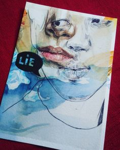 This is a postcard to jimin's song lie.  Watercolor #winsornewton  Ballpoint pentel  Paper canson #moulinduroy
